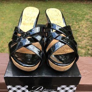Delman Black Patent Sandals